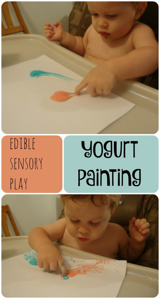 Yogurt Painting.  Edible sensory play for toddlers and preschoolers