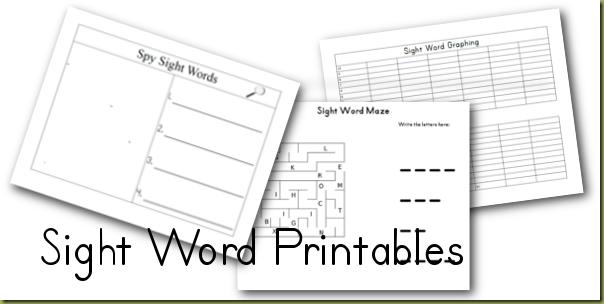 Word  activities Sight sight Unit kindergarten word for printable Kindergarten