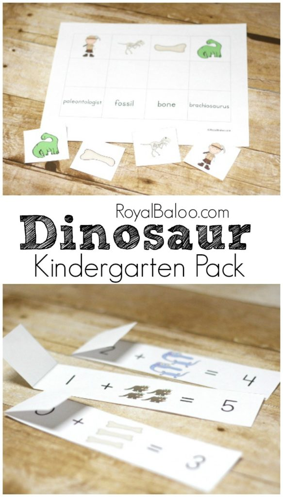 Free Dinosaur Kindergarten pack! Math and language arts (reading and writing) activities for kindergarten!