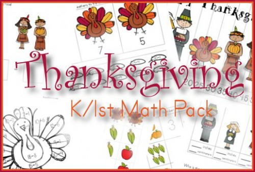 Thanksgiving K/1st Math Pack