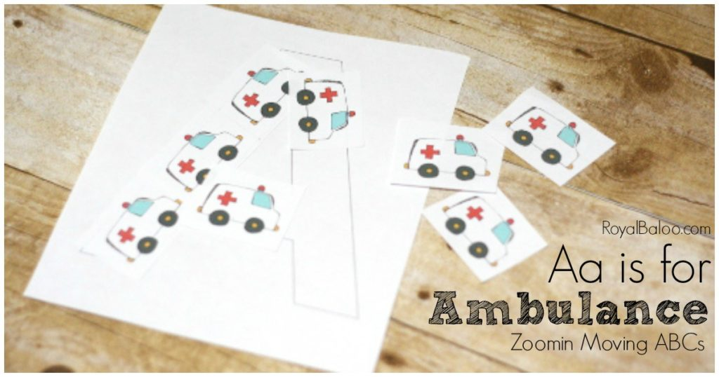 Aa is for Ambulance free printables for learning letters!  Transportation fans will love this ABC set based on trucks, car, trains, and more!