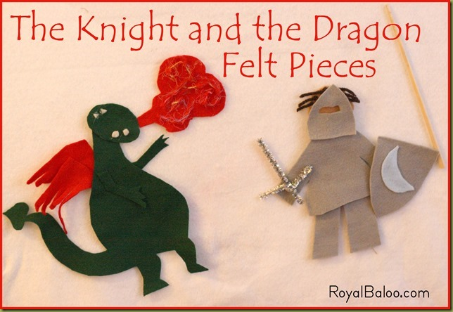 The Knight and the Dragon Felt Pieces
