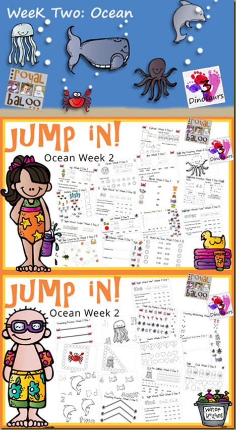 Jump In to Learning Ocean Theme - Week 2   A summer learning program for toddler, preschool, kindergarten, and first grade.