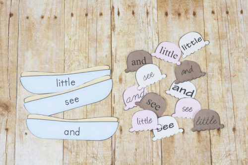 These sight word ice scream sundaes and a fun way to practice reading sight words and quickly! Match the words (and maybe eat some ice cream too!)