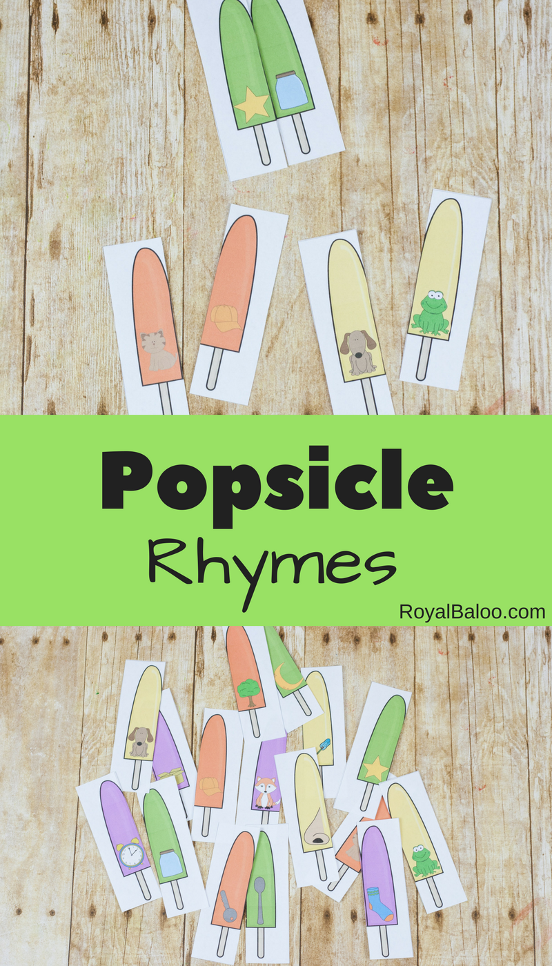 Rhyming practice with a fun popsicle theme! Great theme for practicing rhyming this summer! Free printables for popsicle themed rhymes!