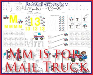 Mm is for Mail Truck Free Printable ABC Set