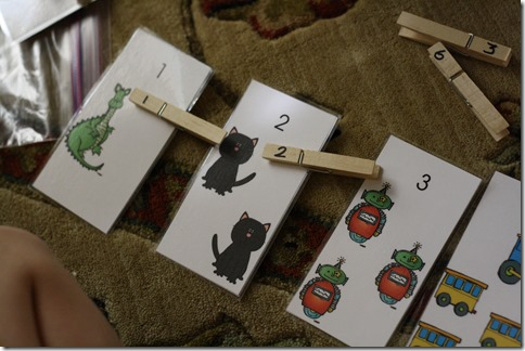 Free Count and Clip Clothespin Cards