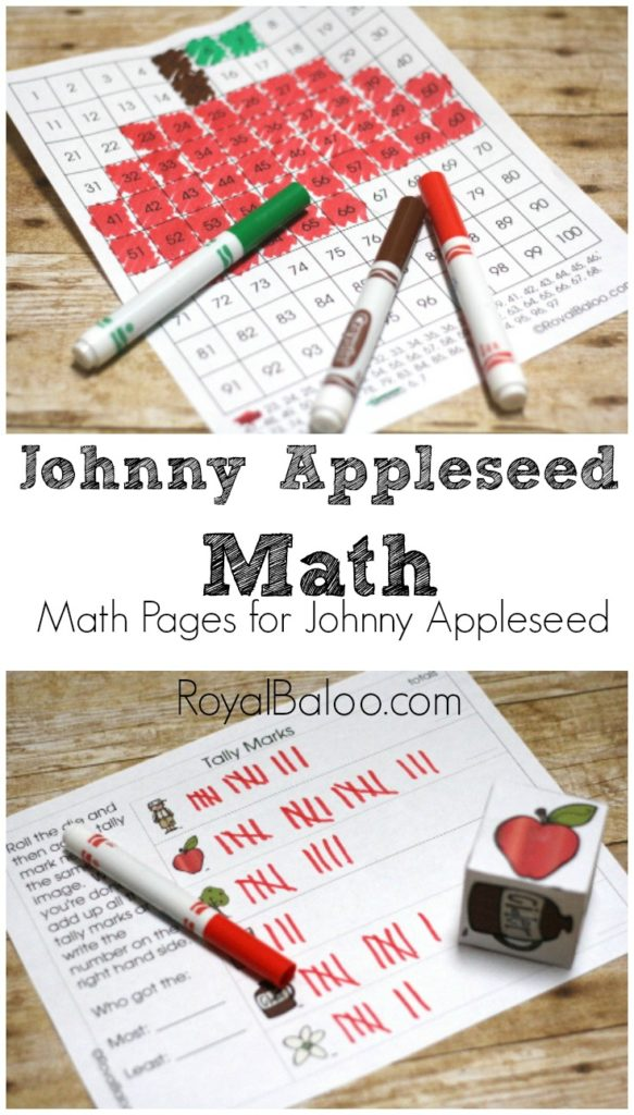 Free Johnny Appleseed Math to go along with a Johnny Appleseed Unit (and preschool and tot packs, phew!)