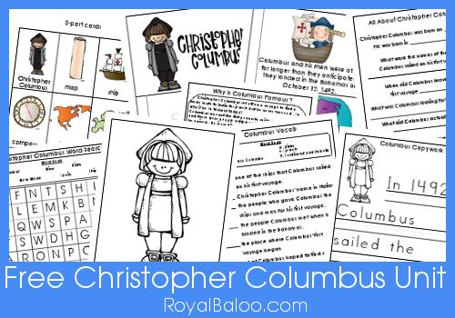 Free christopher columbus unit kindergarten 1st 2nd grade
