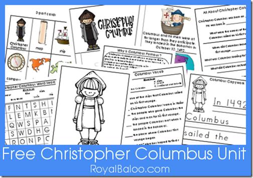 Free Christopher Columbus Unit Kindergarten, 1st, 2nd grade