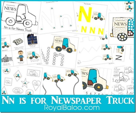 Free Nn is for Newspaper Truck Pack - Part of Zoomin Moving ABCs