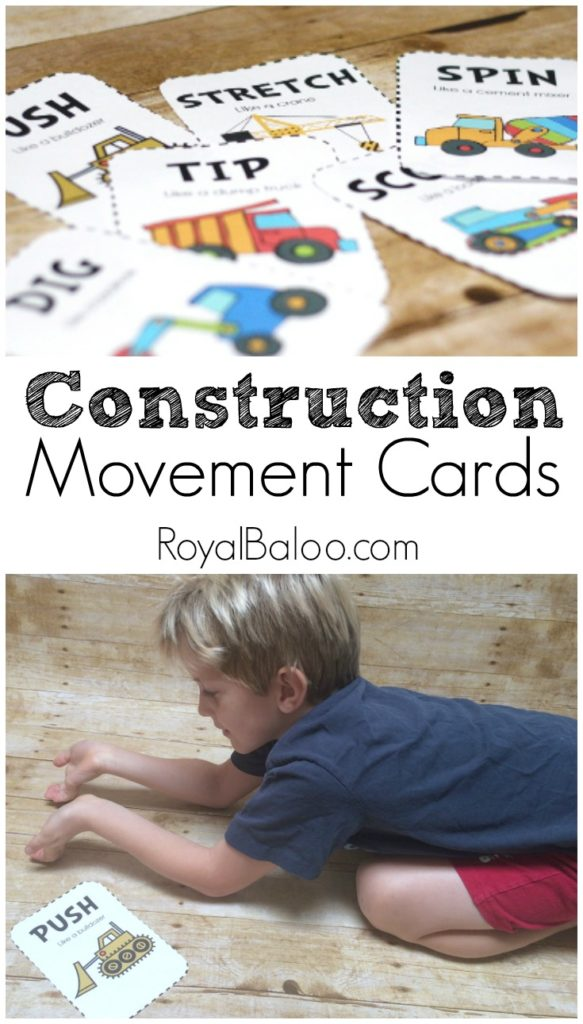 Free Construction Movement Cards. Get your kids moving with a free construction theme.