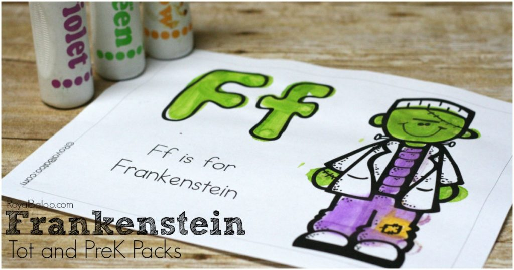 Free PreK and Tot Frankenstein pack! Fun Halloween learning and free printables for Frankenstein!