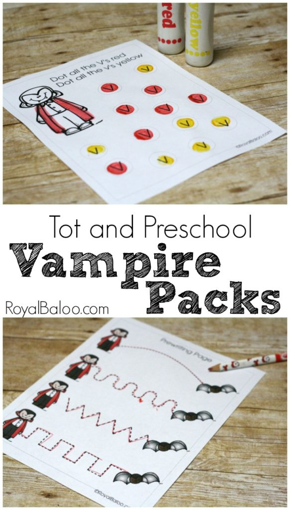 Vv is for Vampire Tot and PreK Printable Packs. Practice all kinds of early learning skills with this vampire printable pack!