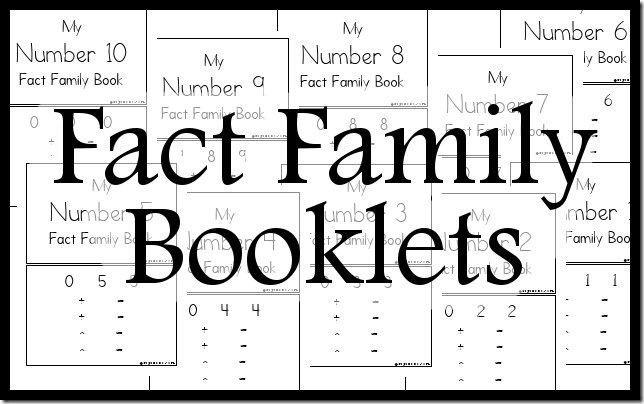 Free Fact Family Booklets