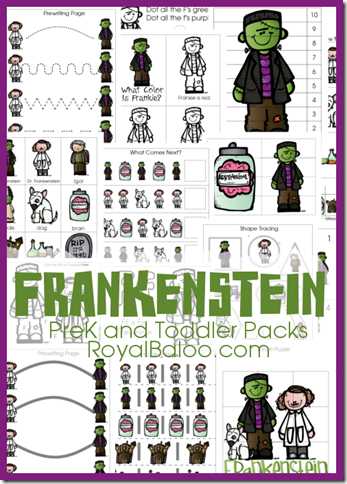 Free Frankenstein PreK and Tot Packs