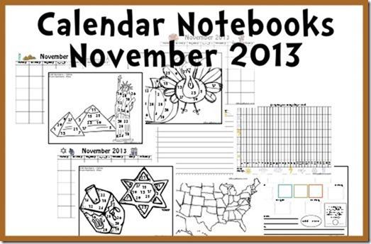 Calendar Notebook Printables for November - World Landmarks, Thanksgiving, Hannukkah