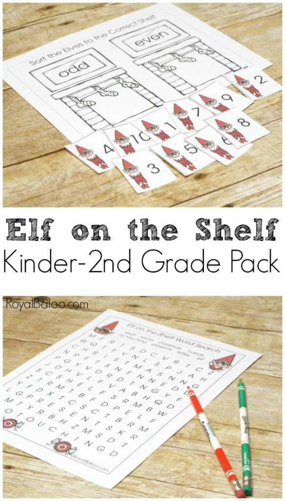 Elf on the Shelf Printable Pack for Kindergarten, 1st, and 2nd Grade.  Math, writing, addition, word problems are more!  Make Christmas special with the elf!