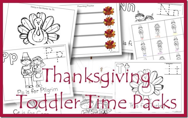 Thanksgiving Toddler Time Printables - T is for Turkey, N is for Native American, P is for Pilgrim, and C is for Corn