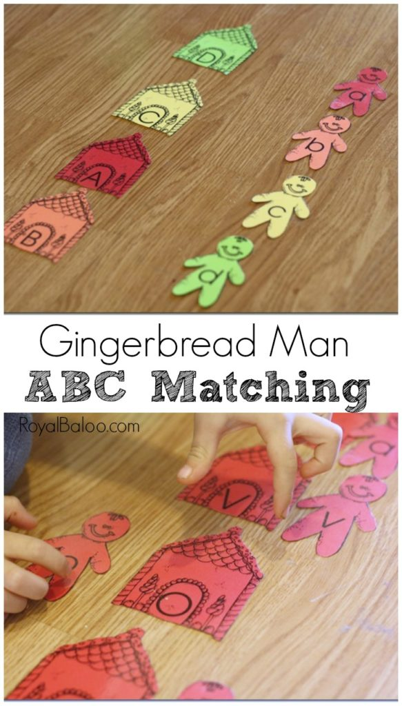 ABC Practice with Gingerbread Men and Gingerbread Houses!  Gingerbread Man ABC Matching makes ABC practice fun!