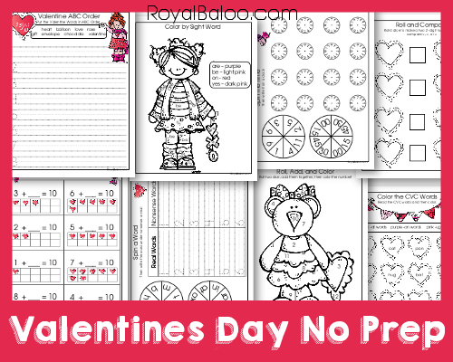 Valentines Day Printable Packs No Prep for Kindergarten and First Grade