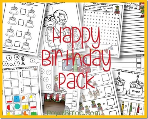 Happy Birthday Pack for kindergarten, first, and second grade