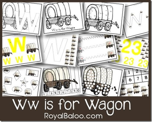 Ww is for Wagon - free printable!  Part of Zoomin Moving ABCs