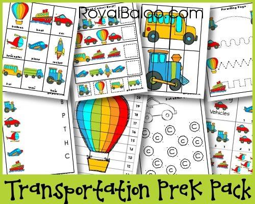 Free Transportation PreK Pack