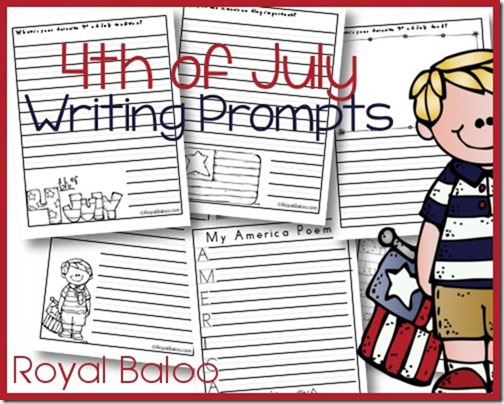 4th of July Writing Materials including writing prompts, acrostic poem, writing pages, and copywork