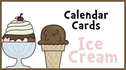 Ice Cream Themed Calendar Cards