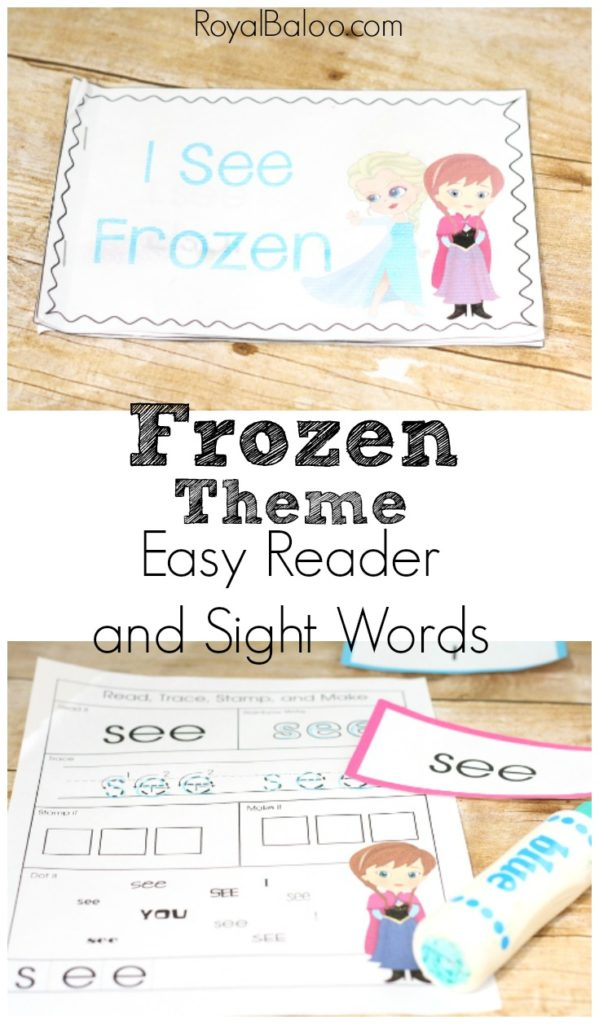 Frozen themed easy reader with sight word practice printables!  Elsa, Ana, Olaf, Sven, Kristoff and the whole gang are here for some easy reading fun!