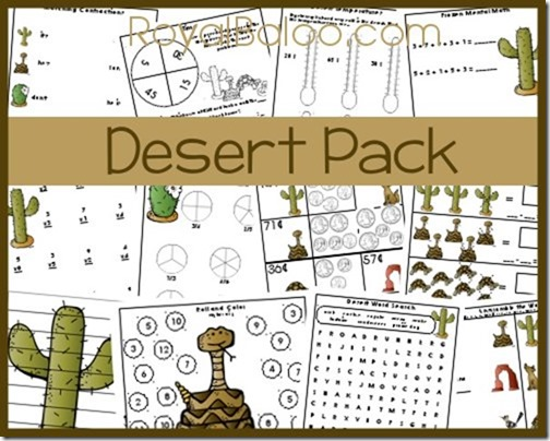 Free Desert packs for Kindergarten through 3rd grade