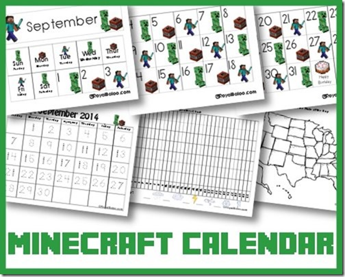 Free Minecraft Calendar Cards and Notebook - Royal Baloo