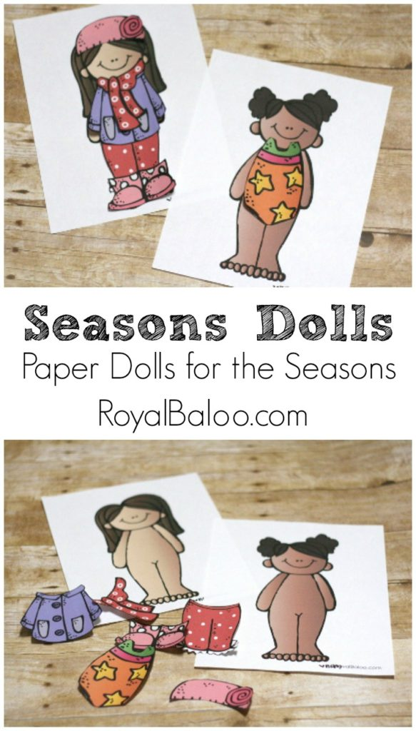 Free Paper Doll Pattern to practice dressing for the seasons!  Girls and boys included!