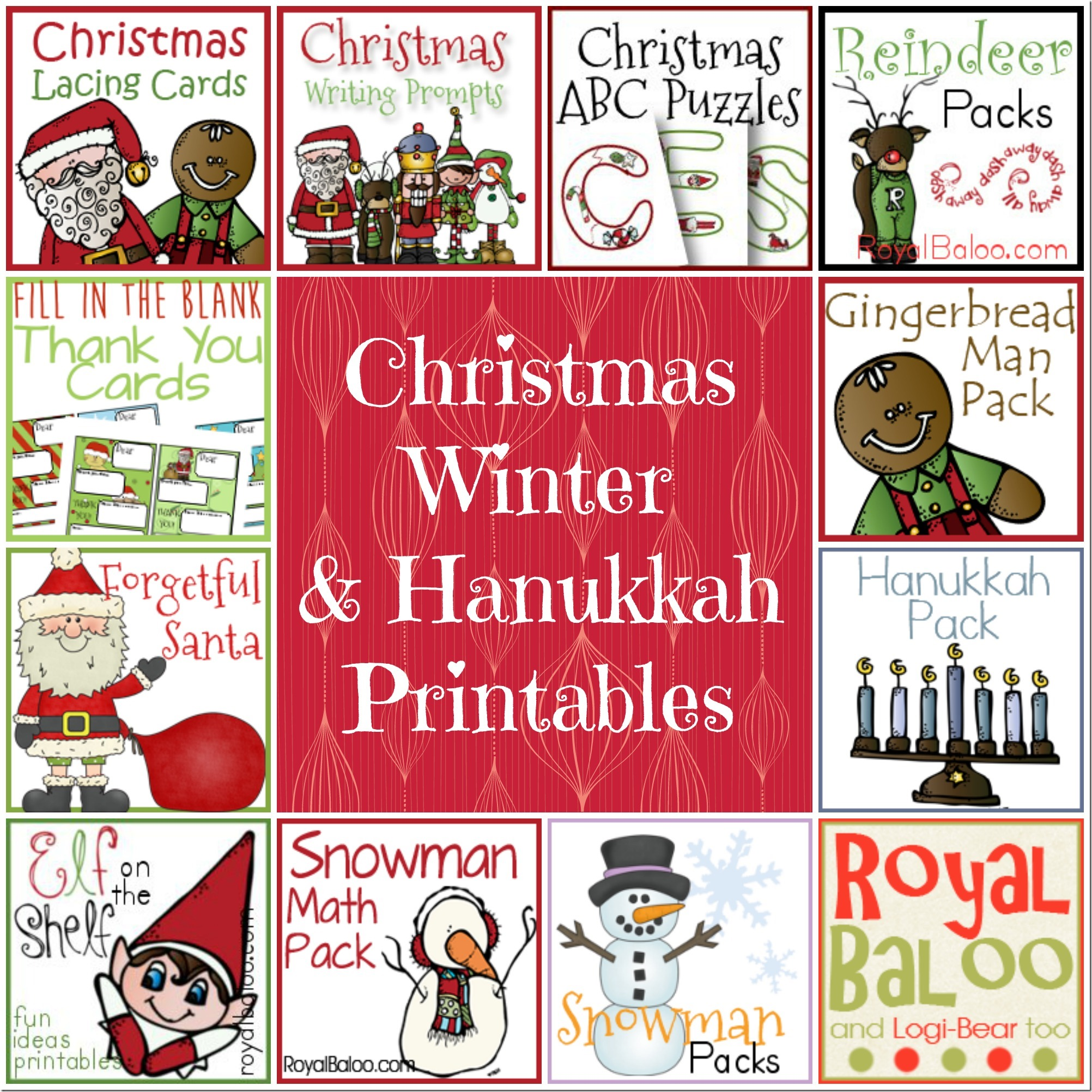 Christmas, Winter, and Hanukkah Printables