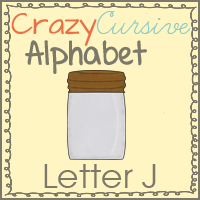 Jj is for Jar Crazy Cursive Alphabet