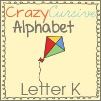 Free Kk is for Kite–Crazy Cursive Alphabet Printables
