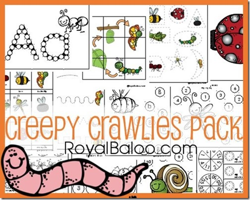 Creepy Crawlies Pack - Free printable pack for tot, preK, kindergarten, first, second, and third grade!