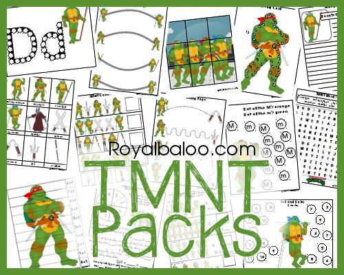 TMNT Packs - Tot, PreK, and K-3rd.  Teenage Mutant Ninja Turtles Printable Pack