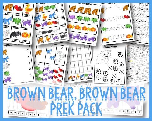 Brown Bear Brown Bear Printable PreK Pack Free