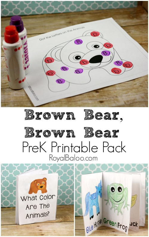 Free Brown Bear Brown Bear PreK (preschool) printable pack with math, learning to read, and more