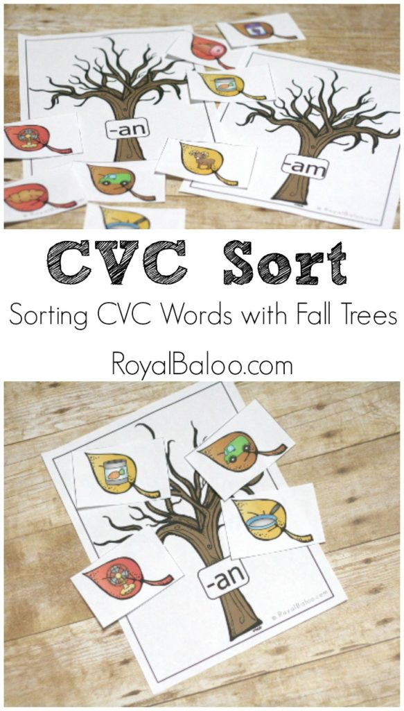 CVC Matching Printable with Fall (Autumn) Trees!  Free printable for learning to read!