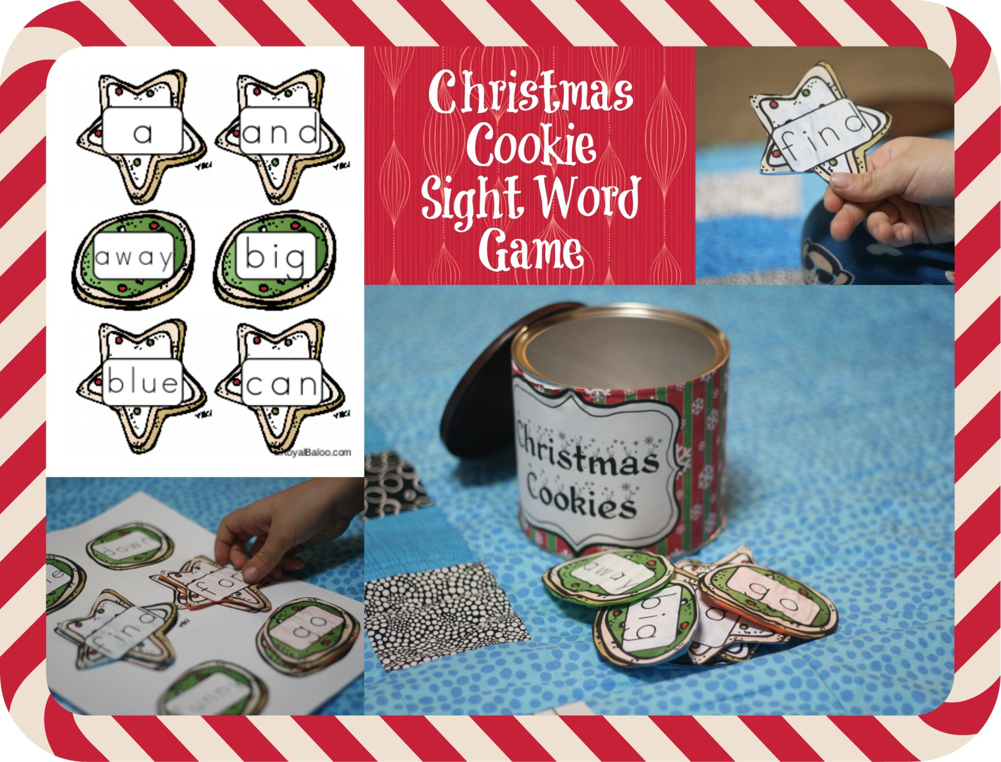 word Word Sight match printable sight memory Christmas Game  Cookie