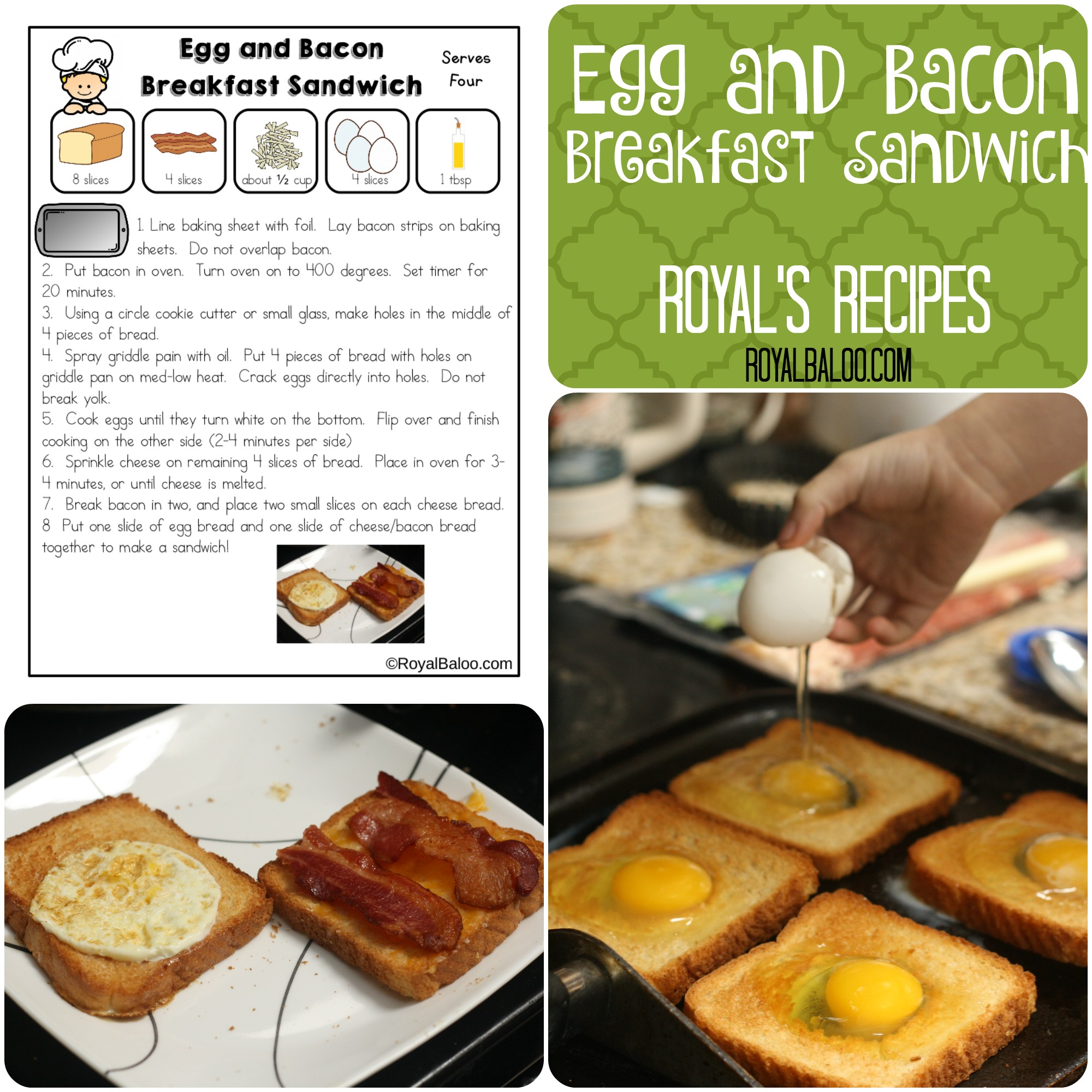 Royal's Recipes: Egg and Bacon Breakfast Sandwich. Recipes for Kids!