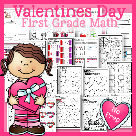Valentines Day No Prep FIrst Grade Math Pack.  20 pages of addition, subtraction, place value, fact families, number bonds, and more!