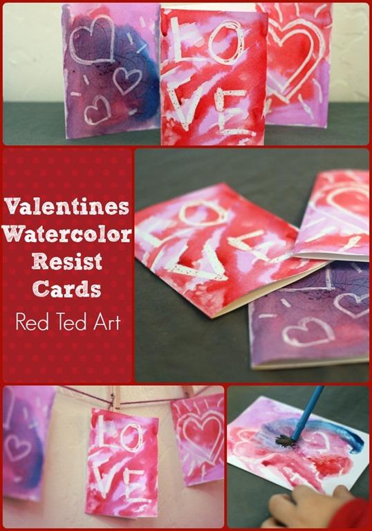 Valentiens Watercolor Resist Cards