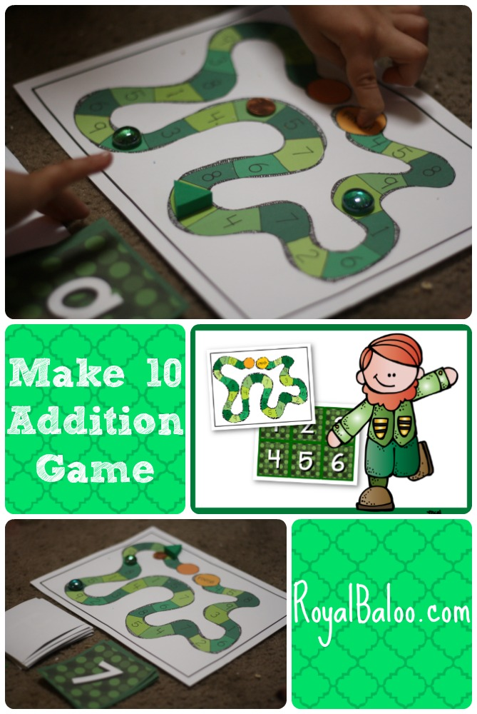 Make 10 Addition Game.  Practice your addition 10 facts with this simple and fun game!