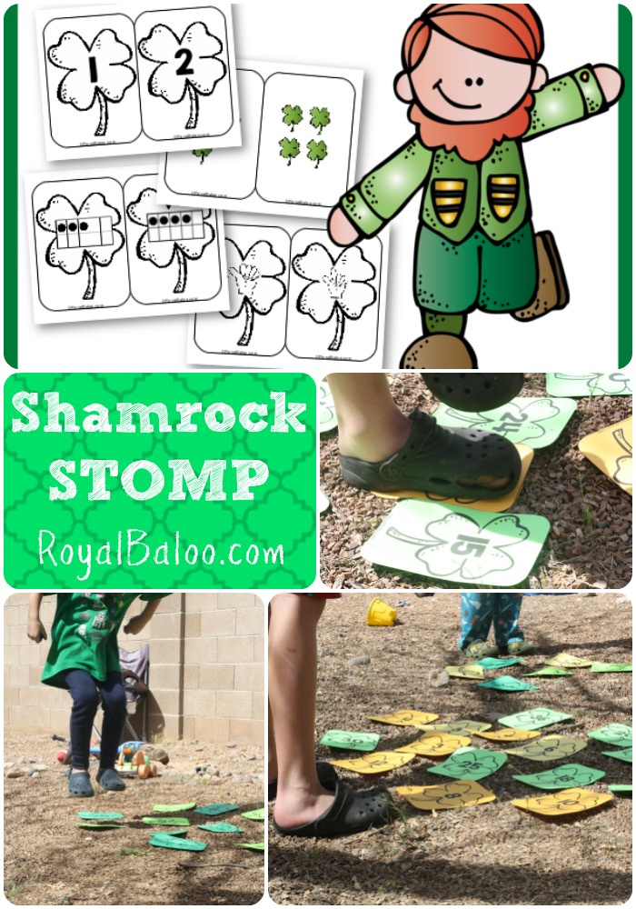Shamrock STOMP - St Patricks Day game for number sense, addition, and multiplication