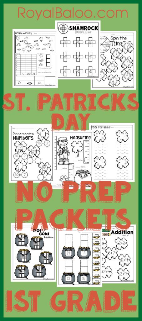 St. Patricks Day No Prep First Grade Math Packs