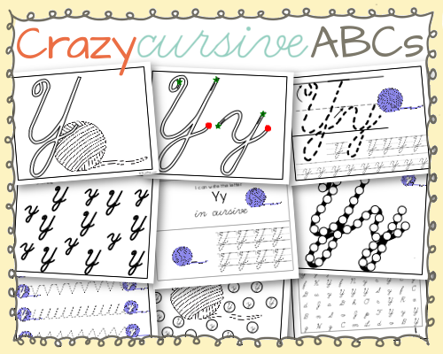 Yy is for Yarn Crazy Cursive Alphabet